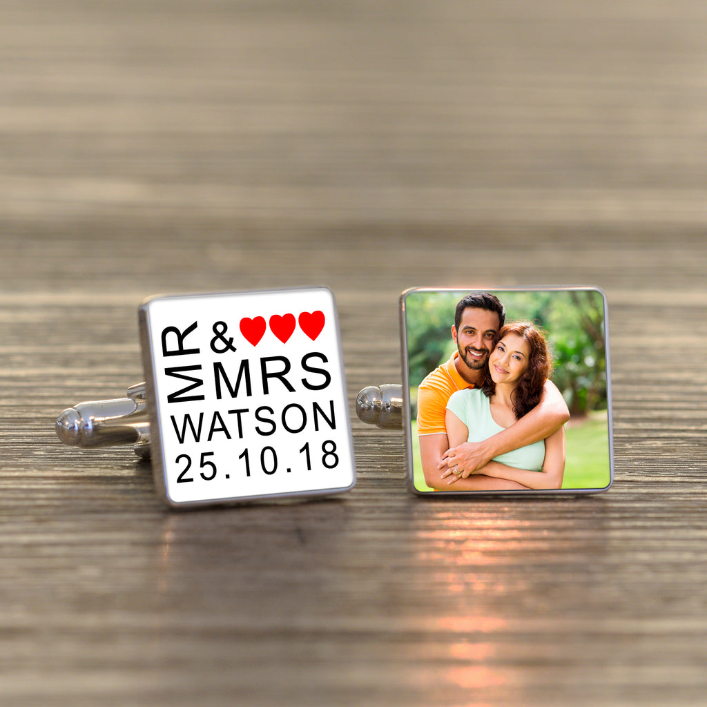 Personalised Mr & Mrs Wedding Photo Cufflinks from Pukkagifts.uk