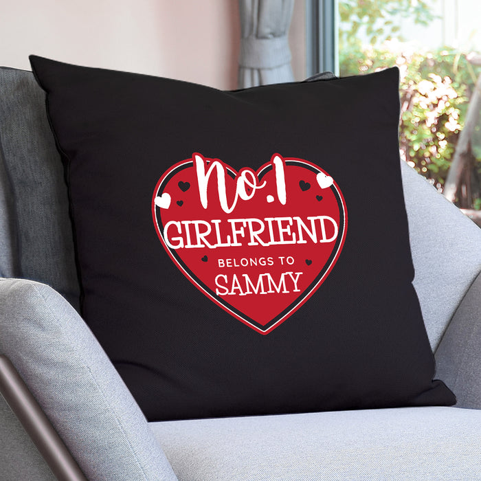 Personalised No.1 Girlfriend Belongs To Heart Cushion Cover
