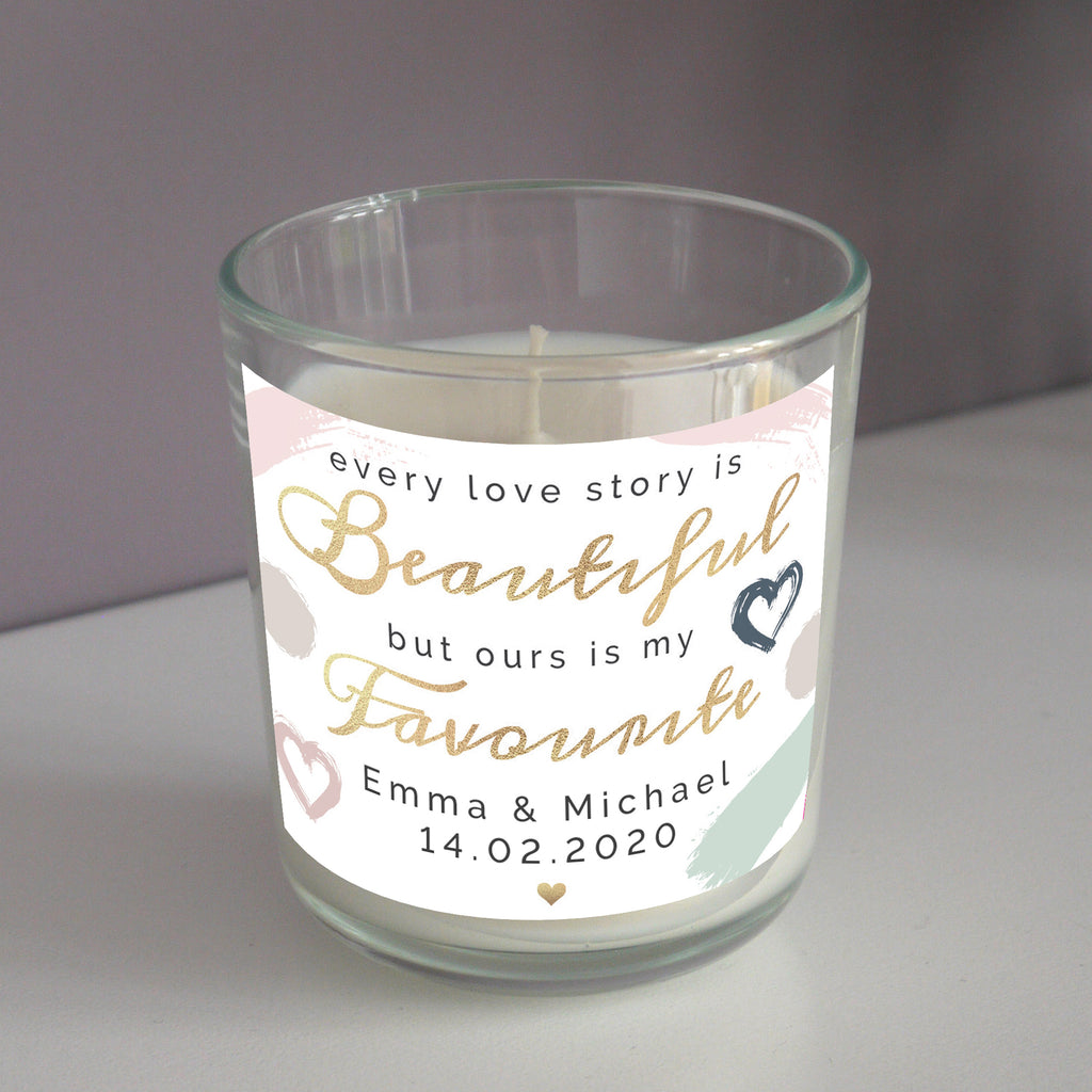 Personalised Every Love Story Is Beautiful Scented Jar Candle
