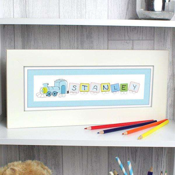 Personalised Patchwork Train Name Frame from Pukkagifts.uk