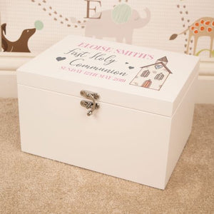 Personalised First Holy Communion White Keepsake Box for a Girl from Pukkagifts.uk