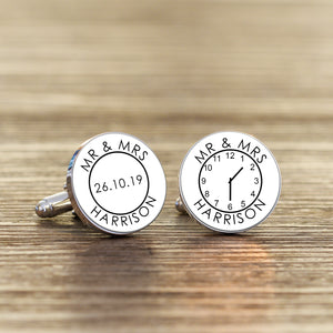 Personalised Mr & Mrs Time Clock Wedding Cufflinks