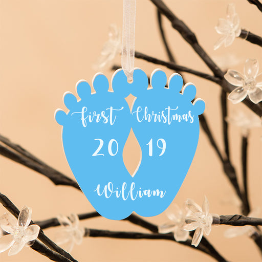 Personalised Baby Feet First Christmas Decoration