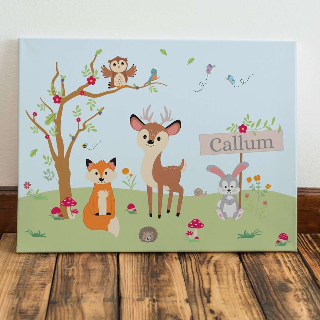 Personalised Woodland Wall Art Canvas For Kids from Pukkagifts.uk