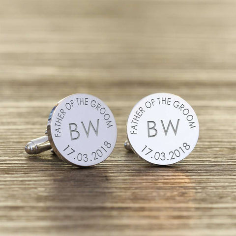 Personalised Father Of The Groom Cufflinks - Initials And Date from Pukkagifts.uk