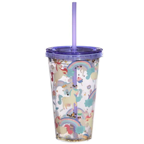 Unicorn Double Walled Reusable Cup with Straw