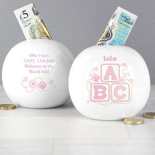 Personalised Pink ABC Money Box from Pukkagifts.uk