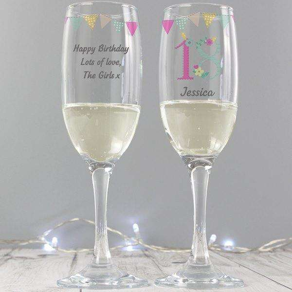 Personalised Birthday Age Female Glass Flute from Pukkagifts.uk