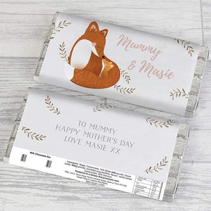 Personalised Mummy and Me Fox Chocolate Bar from Pukkagifts.uk