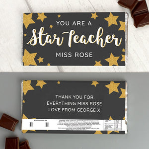 Personalised You Are A Star Teacher Chocolate Bar from Pukkagifts.uk