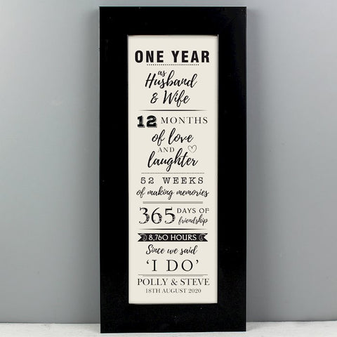 Personalised 1st Anniversary Printed Frame From Pukkagifts.uk