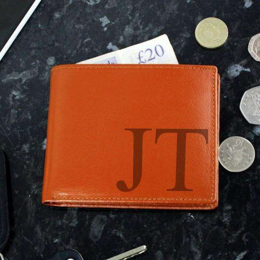 Personalised Big Initials Tan Leather Wallet from Pukkagifts.uk