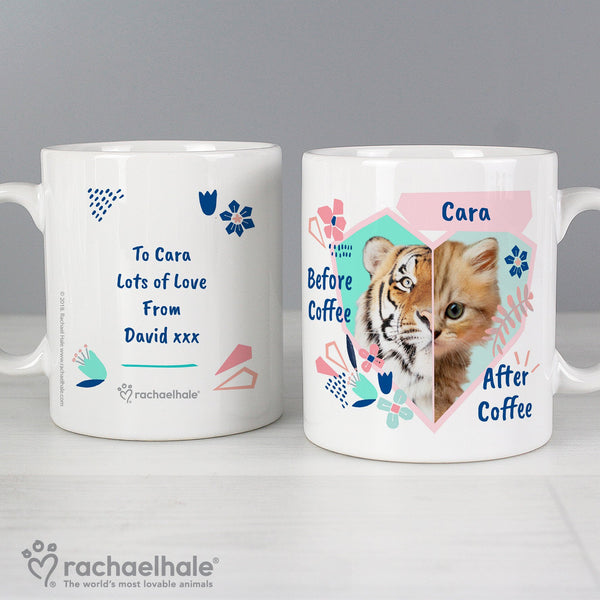 Personalised Rachael Hale 'Before Coffee/After Coffee' Cat Mug