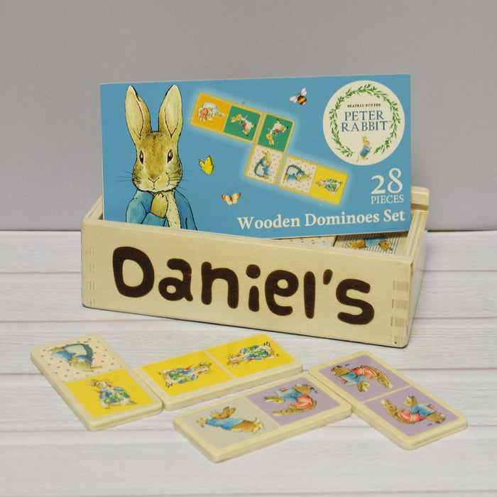 Personalised Peter Rabbit Wooden Dominoes from Pukkagifts.uk
