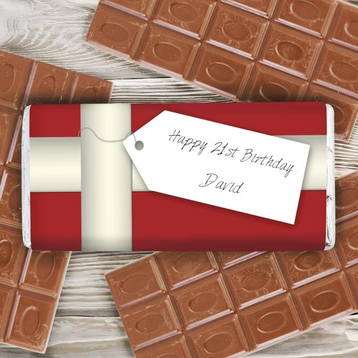 Personalised Ribbon Tag Milk Chocolate Bar - www.pukkagifts.uk