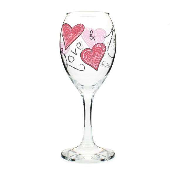 Personalised Love & Kisses Wine Glass from Pukkagifts.uk