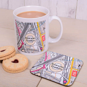 Football Stadium Map Mug and Coaster Gift Set from Pukkagifts.uk