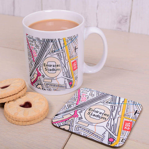 Football Stadium Map Mug and Coaster Gift Set