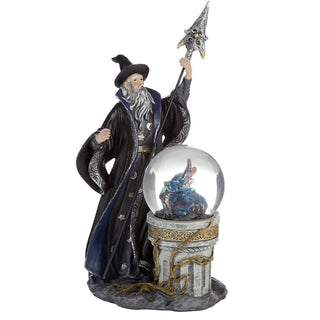 Spirit of the Sorcerer - Ice Dragon Wizard Snow Globe Waterball Figurine