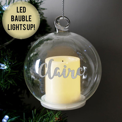 Personalised Christmas LED Candle Glass Bauble