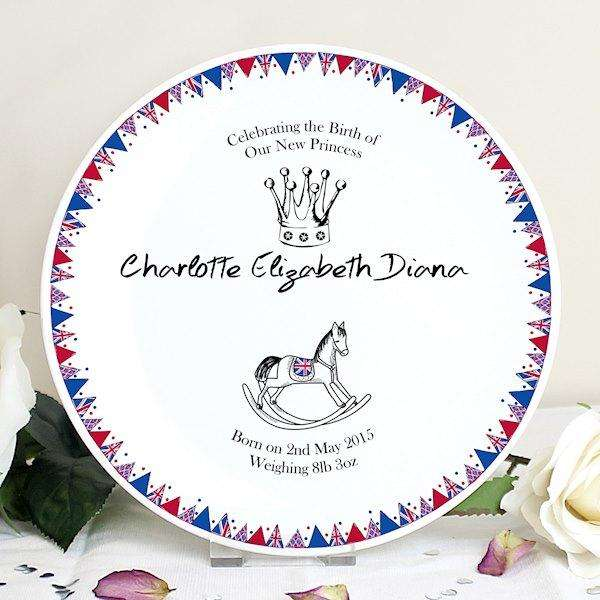 Personalised Royal Baby Bunting Plate from Pukkagifts.uk