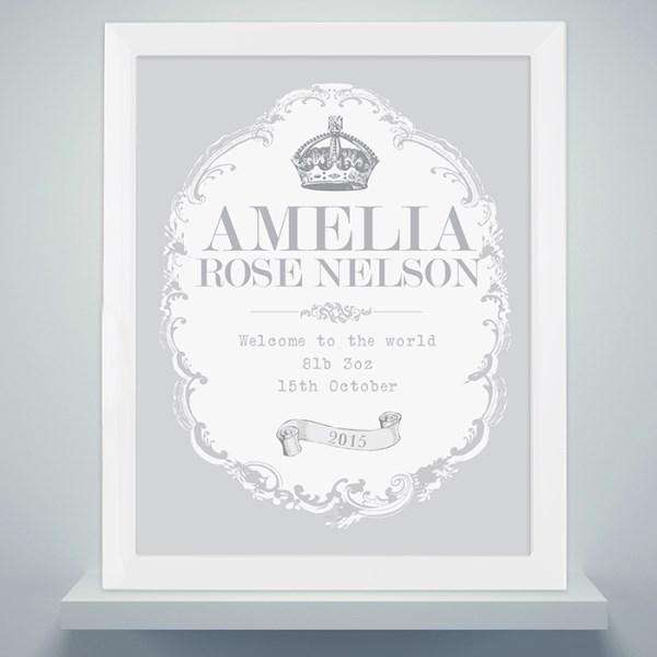 Personalised Royal Crown White Framed Poster Print from Pukkagifts.uk
