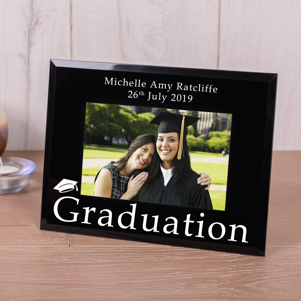 Personalised Graduation Black Glass Photo Frame 6x4 from Pukkagifts.uk