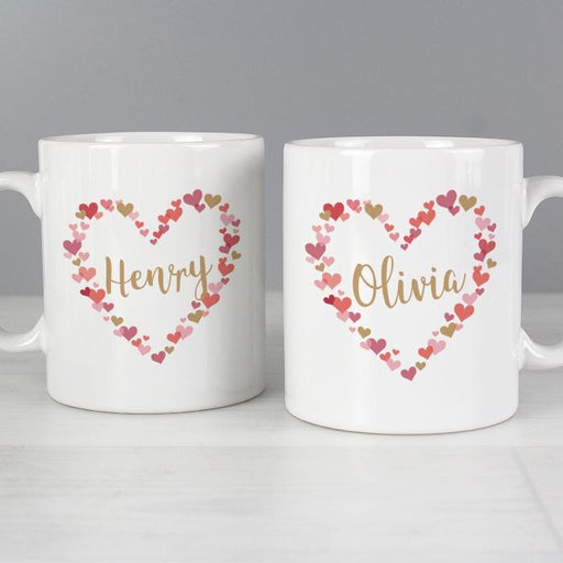 Personalised Confetti Hearts Mug Set from Pukkagifts.uk