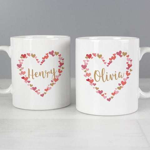 Personalised Confetti Hearts Mug Set | Wedding | Valentines Day | Anniversary Gift
