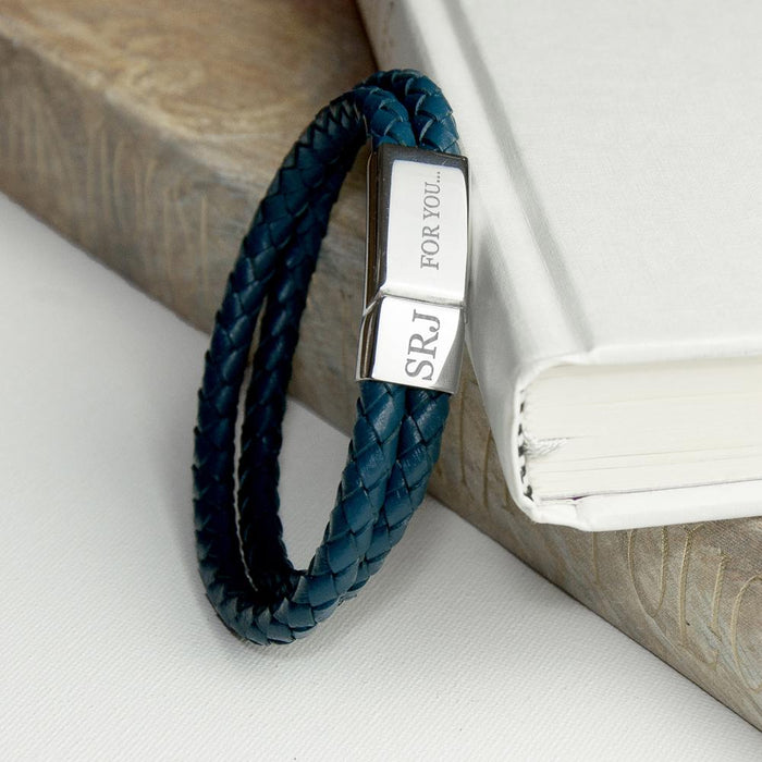 Personalised Men's Dual Leather Woven Bracelet in Teal