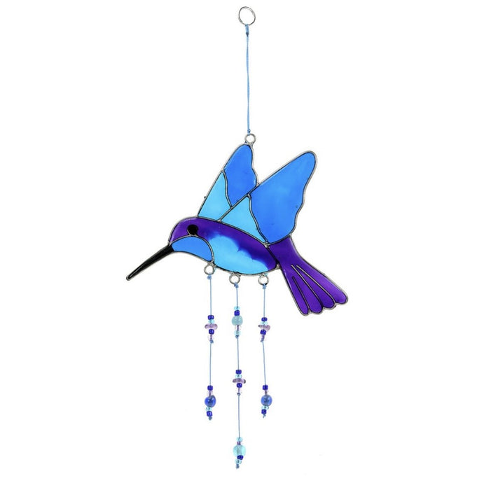 Blue and Purple Hummingbird Suncatcher