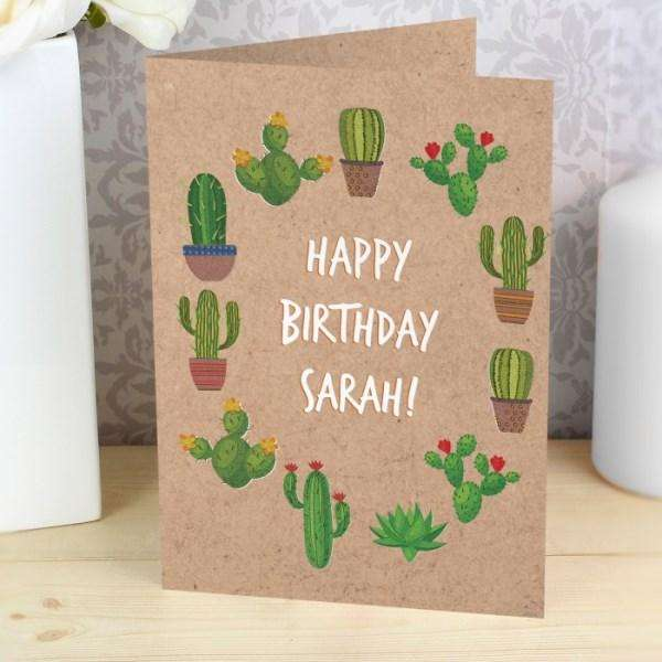Personalised Cactus Card from Pukkagifts.uk