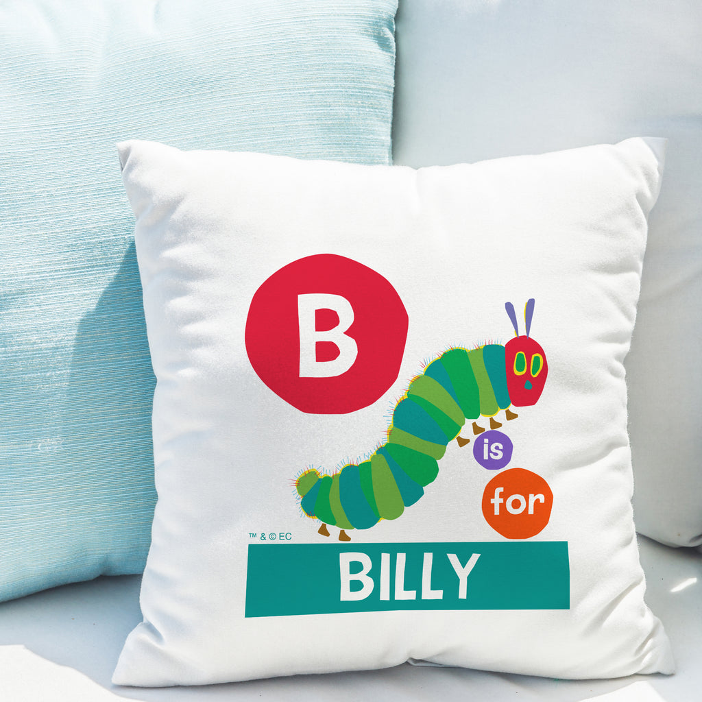 Personalised Very Hungry Caterpillar Dot Initial Cushion