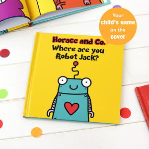 Personalised Flossy and Jim Where are you Robot? Book from Pukkagifts.uk