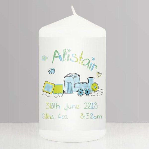 Personalised Patchwork Train Candle from Pukkagifts.uk