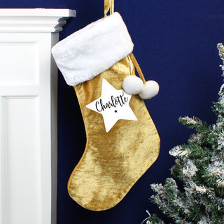 Personalised Star Luxury Gold Christmas Stocking