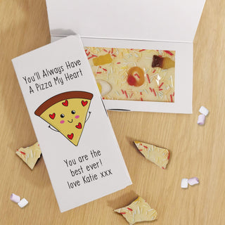 Personalised You'll Always Have A Pizza My Heart White Chocolate Card