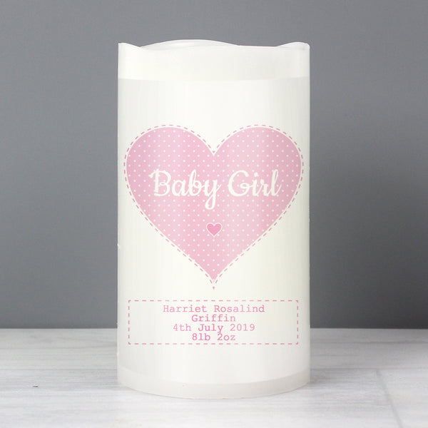 Personalised Stitch & Dot Baby Girl Nightlight LED Candle