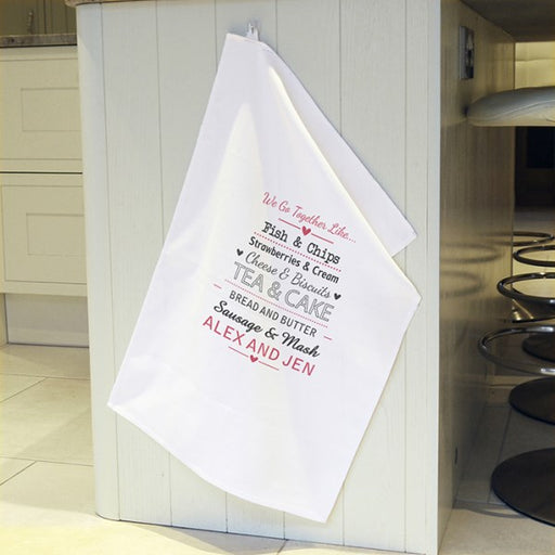 Personalised We Go Together Like White Tea Towel from Pukkagifts.uk
