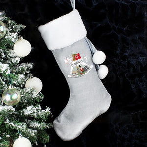 Personalised Rocking Horse Luxury Silver Grey Christmas Stocking
