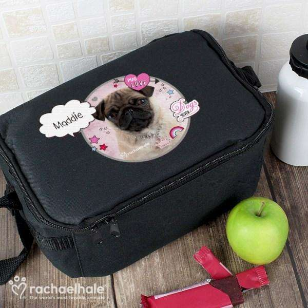 Personalised Rachael Hale Doodle Pug Black Lunch Bag from Pukkagifts.uk