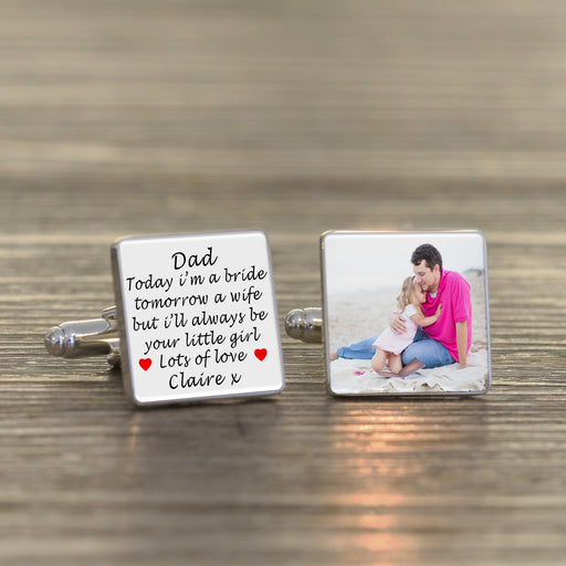 Personalised Today A Bride, Tomorrow A Wife But Always Your Little Girl Cufflinks