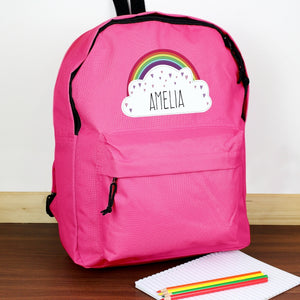 Personalised Rainbow Pink Backpack from Pukkagifts.uk