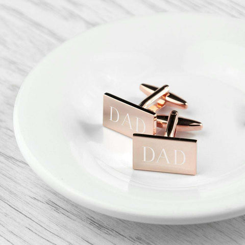 Personalised Rectangle Rose Gold Plated Cufflinks from Pukkagifts.uk