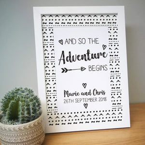 Personalised Adventure Begins A4 Framed Print