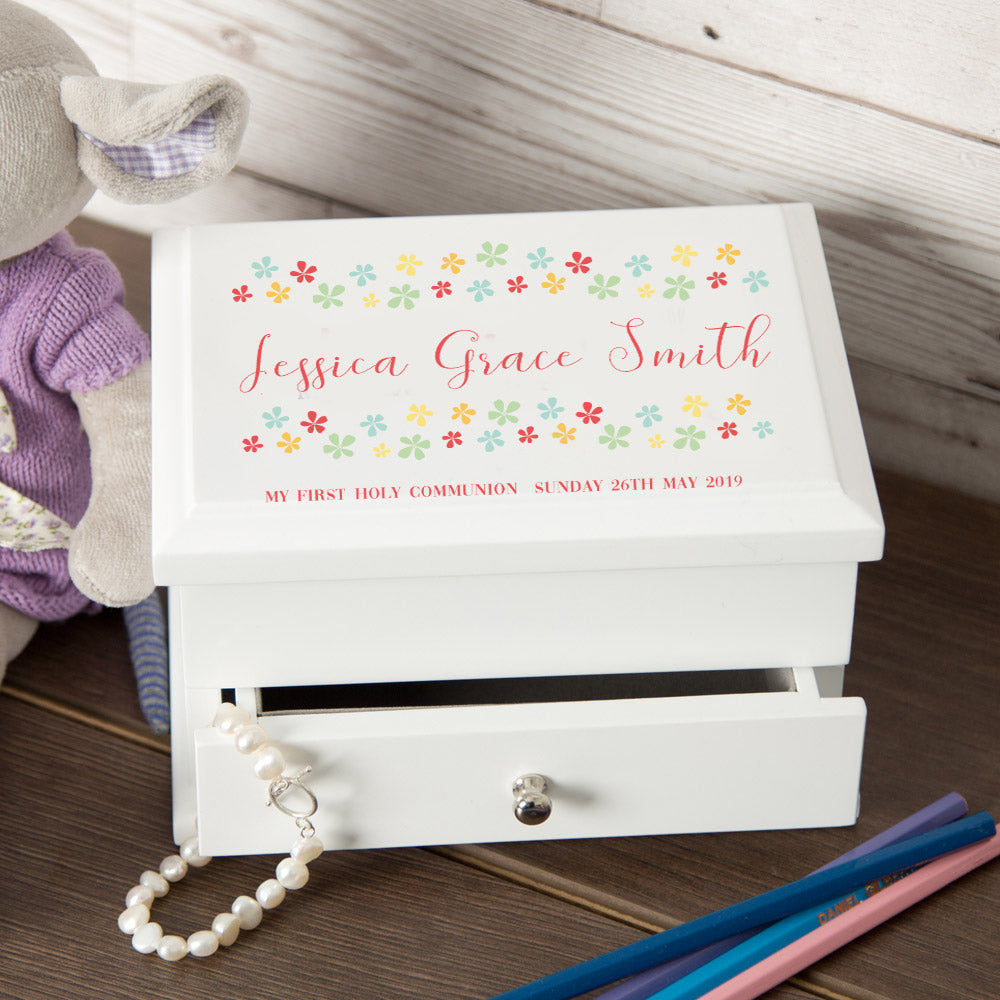 Personalised Floral Design My 1st Holy Communion Jewellery Box from Pukkagifts.uk