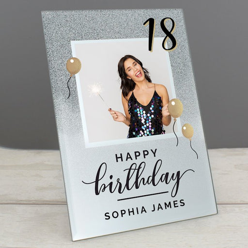 Personalised 18th Birthday Glitter Glass Photo Frame 4x4 from Pukkagifts.uk