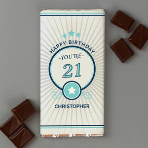 Personalised Birthday Age Milk Chocolate Bar from Pukkagifts.uk