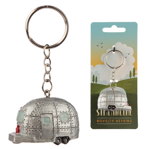 Silver Streamline Caravan Keyring from Pukkagifts.uk