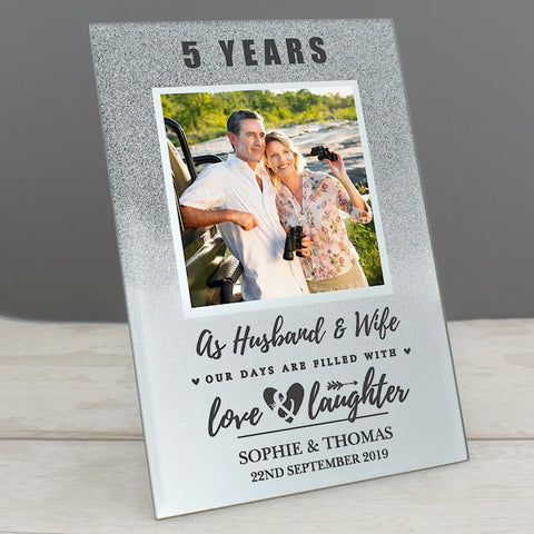 Personalised Anniversary Glitter Glass Photo Frame 4x4 from Pukkagifts.uk
